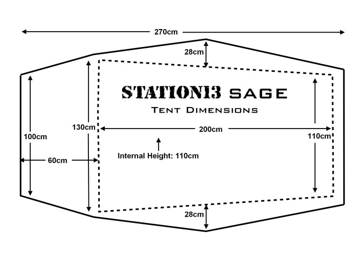 Station 13 Sage Lightweight Backpacking Tent Dimensions